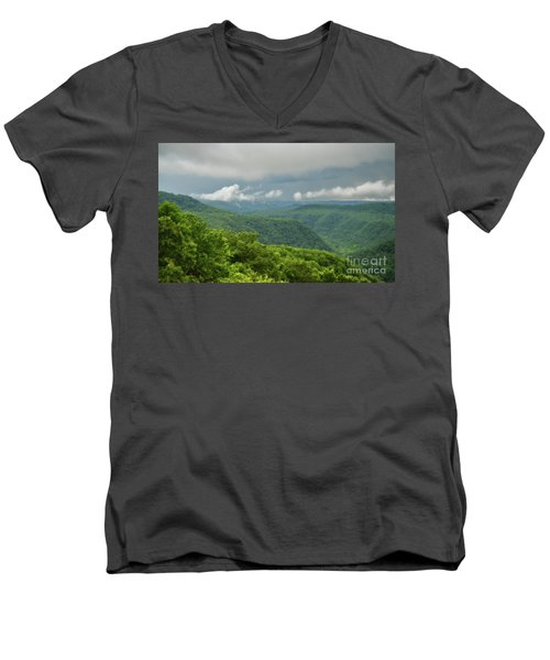 Men's V-Neck T-Shirt featuring the photograph After The Rain - The Bluestone Gorge At Pipestem State Park by Kerri Farley