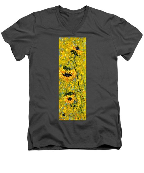 Men's V-Neck T-Shirt featuring the painting After The Rain  Vi by Cristina Mihailescu