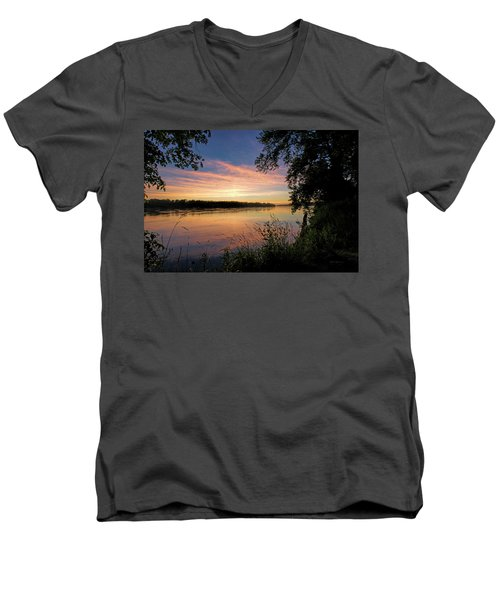 Men's V-Neck T-Shirt featuring the photograph Afterglow by Cricket Hackmann