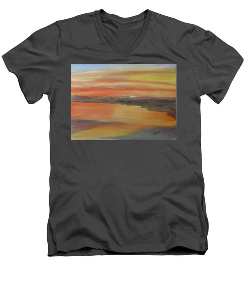 Men's V-Neck T-Shirt featuring the painting Afterglow by Joel Deutsch