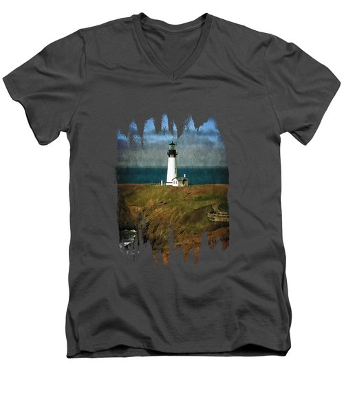 Afternoon At The Yaquina Head Lighthouse Men's V-Neck T-Shirt