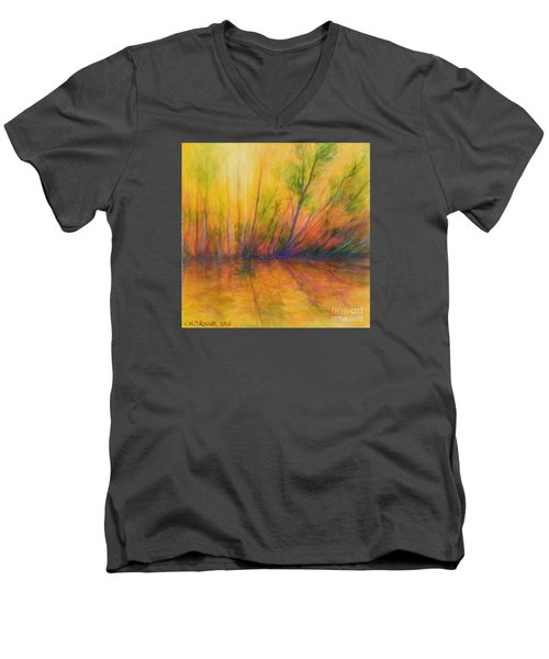 Men's V-Neck T-Shirt featuring the painting Afternoon Glow  by Alison Caltrider