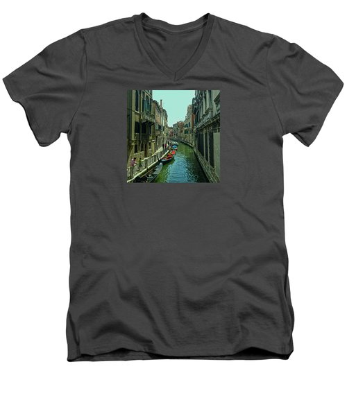 Men's V-Neck T-Shirt featuring the photograph Afternoon In Venice by Anne Kotan