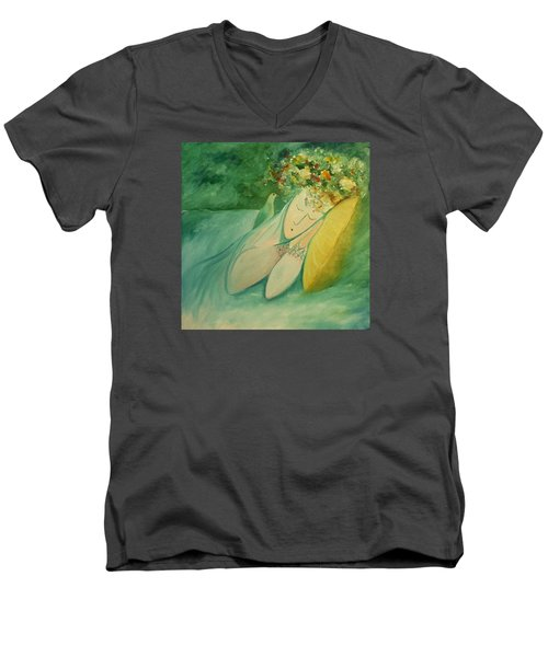 Men's V-Neck T-Shirt featuring the painting Afternoon Nap In The Garden by Tone Aanderaa