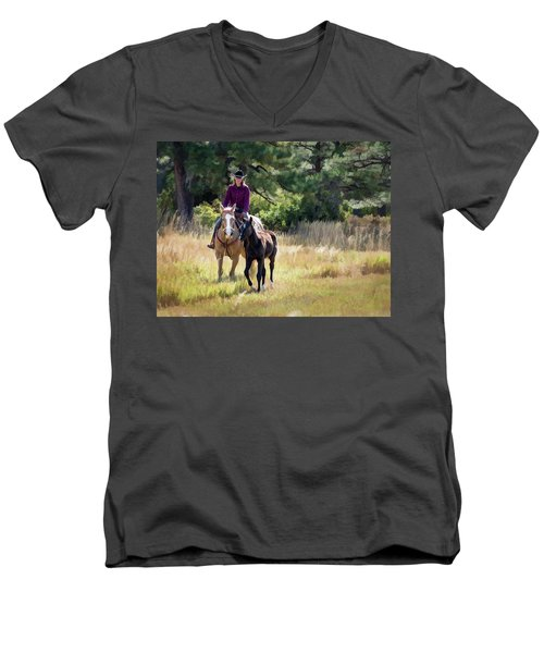 Afternoon Ride In The Sun - Cowgirl Riding Palomino Horse With Foal Men's V-Neck T-Shirt by Nadja Rider