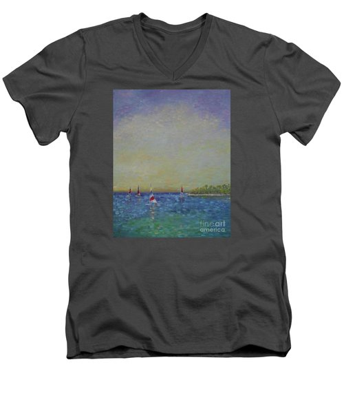 Afternoon Sailing Men's V-Neck T-Shirt by Gail Kent