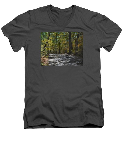 Men's V-Neck T-Shirt featuring the painting Afternoon Shadows - Oconne State Park by Kathleen McDermott