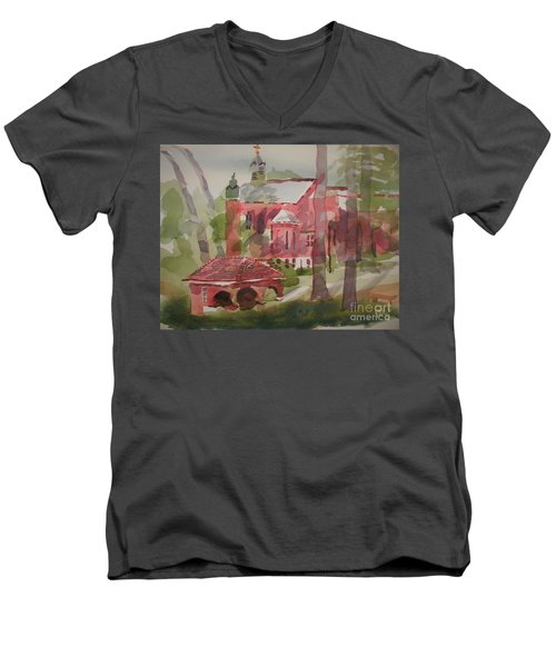 Men's V-Neck T-Shirt featuring the painting Afternoon Shadows W403 by Kip DeVore