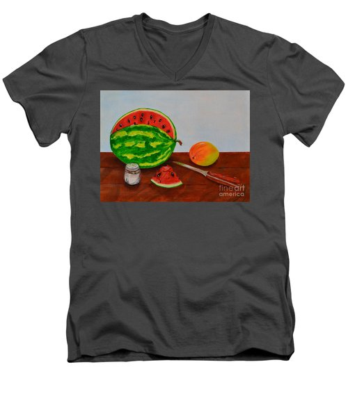 Men's V-Neck T-Shirt featuring the painting Afternoon Summer Treat by Melvin Turner
