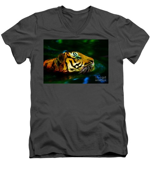 Afternoon Swim - Tiger Men's V-Neck T-Shirt