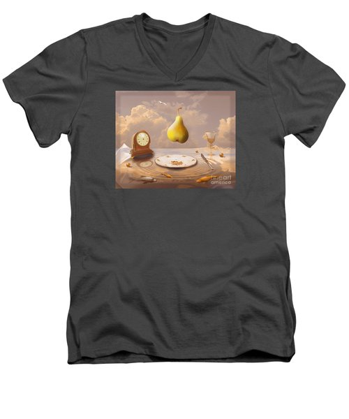 Men's V-Neck T-Shirt featuring the drawing Afternoon Tea by Alexa Szlavics