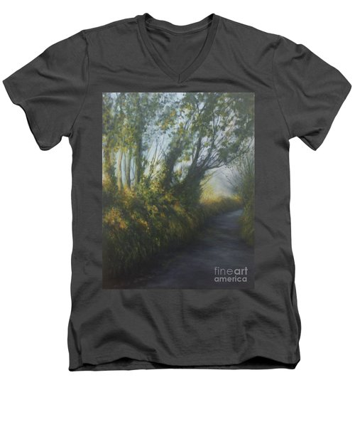Afternoon Walk Men's V-Neck T-Shirt by Valerie Travers