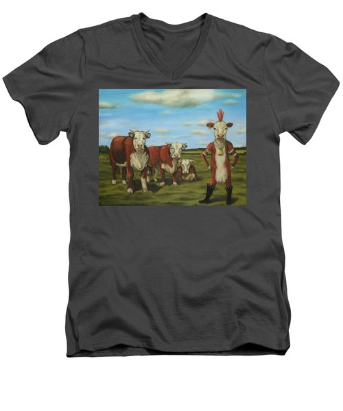 Men's V-Neck T-Shirt featuring the painting Against The Herd by Leah Saulnier The Painting Maniac