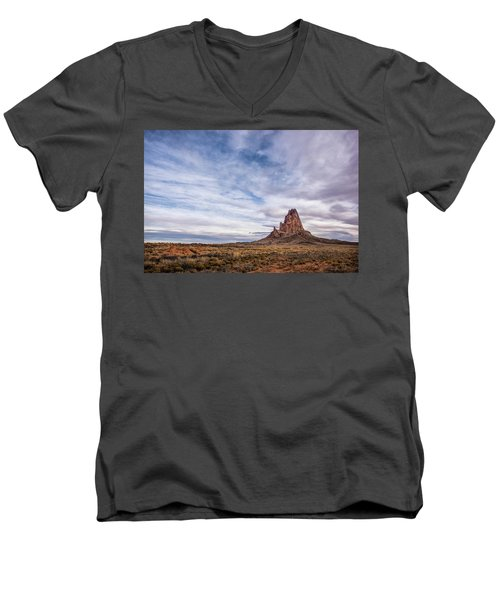 Men's V-Neck T-Shirt featuring the photograph Agathla Wakes Up by Jon Glaser