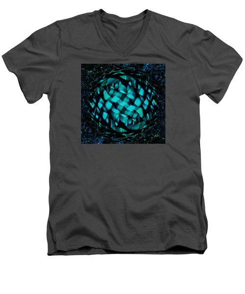 Agave Blues Abstract Men's V-Neck T-Shirt by Stephanie Grant