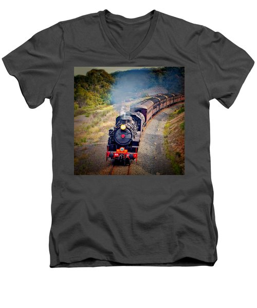 Men's V-Neck T-Shirt featuring the photograph Age Of Steam by Wallaroo Images