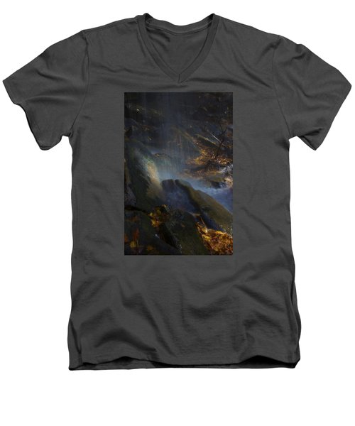 Men's V-Neck T-Shirt featuring the photograph Aglow by Ellen Heaverlo