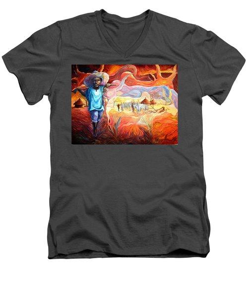 Agoi - The Sheperd Boy Men's V-Neck T-Shirt by Bankole Abe