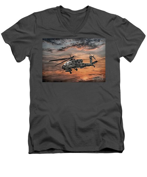 Men's V-Neck T-Shirt featuring the digital art Ah-64 Apache Attack Helicopter by Randy Steele