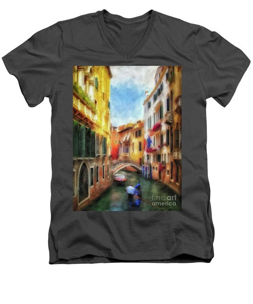Men's V-Neck T-Shirt featuring the digital art Ahh Venezia Painterly by Lois Bryan