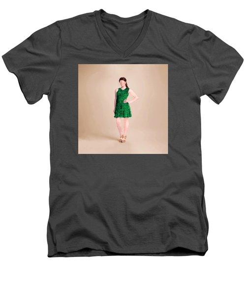 Men's V-Neck T-Shirt featuring the digital art Ainsley by Nancy Levan