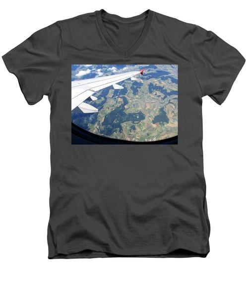 Air Berlin Over Switzerland Men's V-Neck T-Shirt