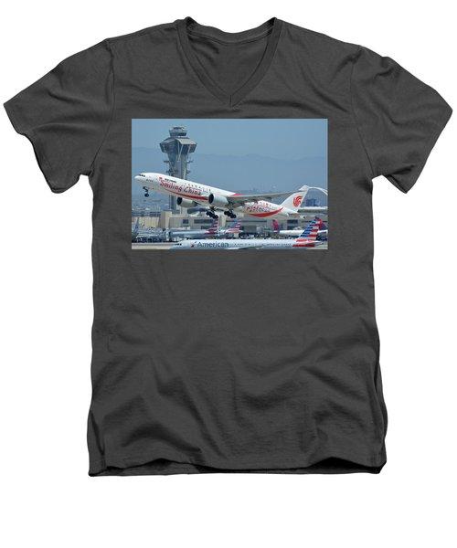 Men's V-Neck T-Shirt featuring the photograph Air China Boeing 777-39ler B-2035 Smiling China Los Angeles International Airport May 3 2016 by Brian Lockett