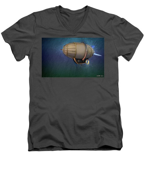 Airship In Flight Men's V-Neck T-Shirt