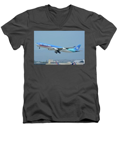 Men's V-Neck T-Shirt featuring the photograph Air Tahiti Nui Airbus A340-313x F-osea Los Angeles International Airport May 3 2016 by Brian Lockett