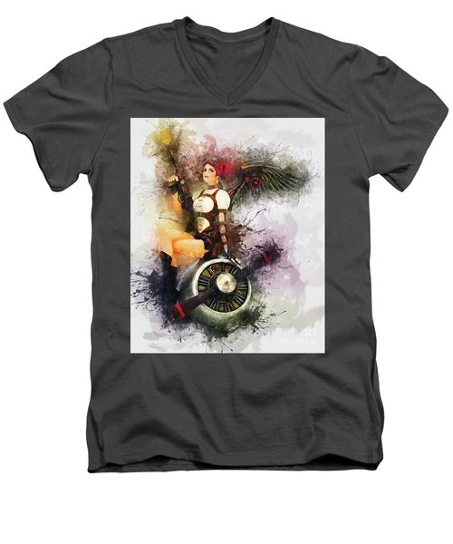 Aircraft Girl Men's V-Neck T-Shirt