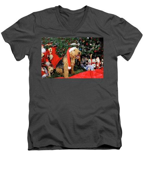 Airedale Terrier Dressed As Santa-claus Men's V-Neck T-Shirt