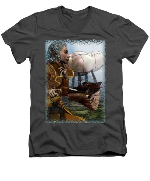 Airship Men's V-Neck T-Shirt by Sharon and Renee Lozen