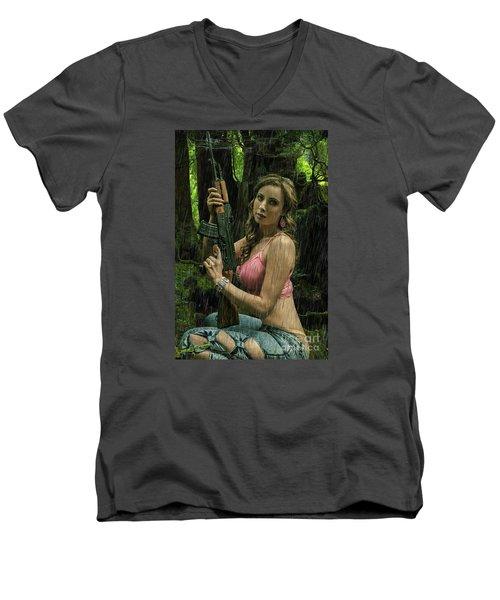 Ak47 In The Rain Men's V-Neck T-Shirt