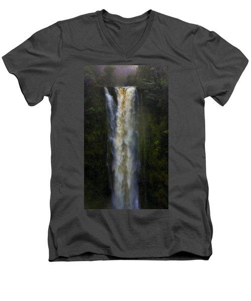 Men's V-Neck T-Shirt featuring the photograph Akaka Falls by Ellen Heaverlo