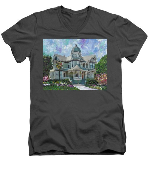 Men's V-Neck T-Shirt featuring the painting Alameda 1893  Queen Anne  by Linda Weinstock