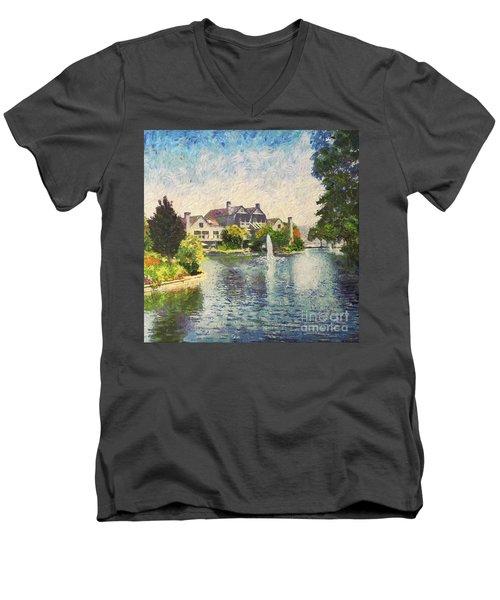 Alameda Marina Village 1 Men's V-Neck T-Shirt by Linda Weinstock