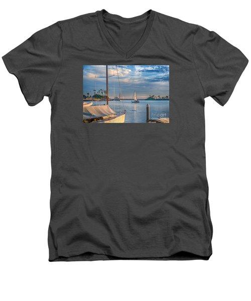 Alamitos Bay Inlet Sailboat Men's V-Neck T-Shirt by David Zanzinger