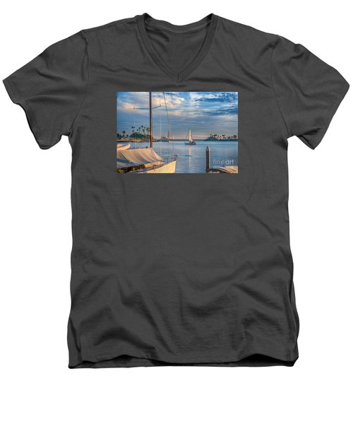 Alamitos Bay Inlet Sailboat Men's V-Neck T-Shirt