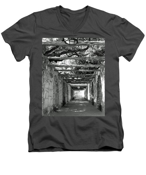 Alamo Corridor Men's V-Neck T-Shirt by Debbie Karnes