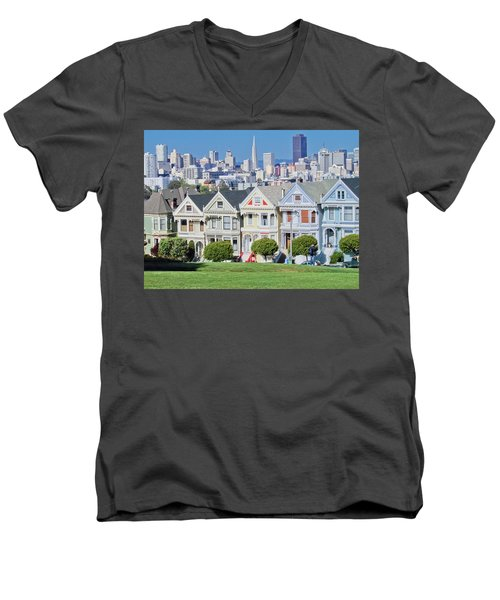 Men's V-Neck T-Shirt featuring the photograph Alamo Square by Matthew Bamberg