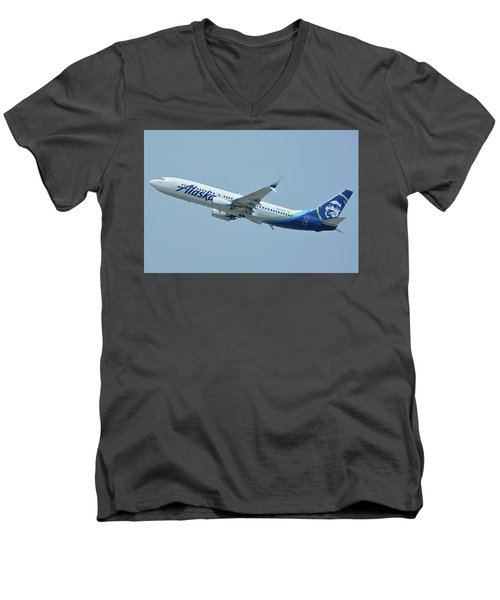 Men's V-Neck T-Shirt featuring the photograph Alaska Boeing 737-890 N563as Los Angeles International Airport May 3 2016 by Brian Lockett