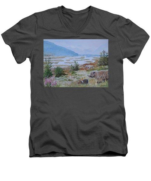 Alaska - Denali 2 Men's V-Neck T-Shirt by Christine Lathrop