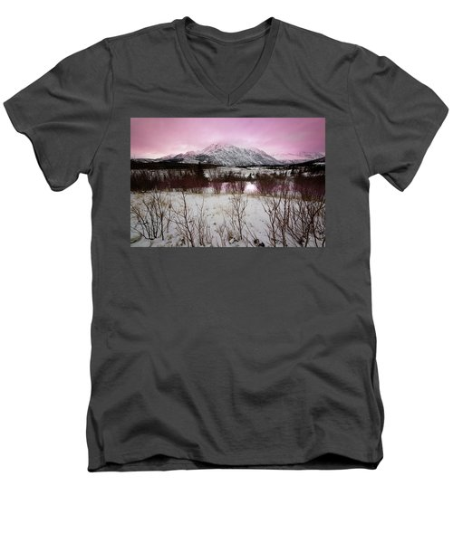 Alaska Range Pink Sky Men's V-Neck T-Shirt