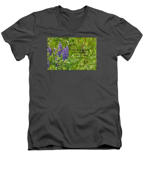 Men's V-Neck T-Shirt featuring the photograph Alaskan Lupine Heaven by Diane E Berry