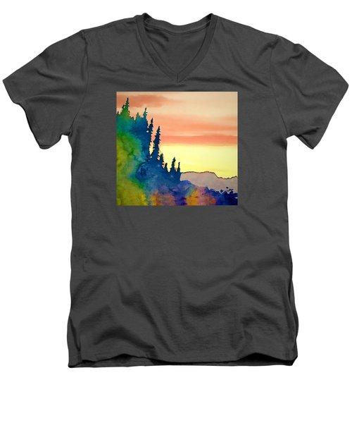 Alaskan Sunset Men's V-Neck T-Shirt by Jan Amiss Photography