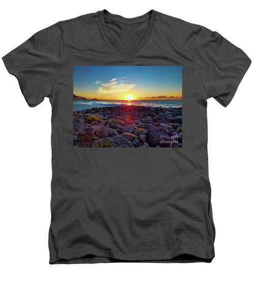 Alassio Sunset Men's V-Neck T-Shirt by Karen Lewis
