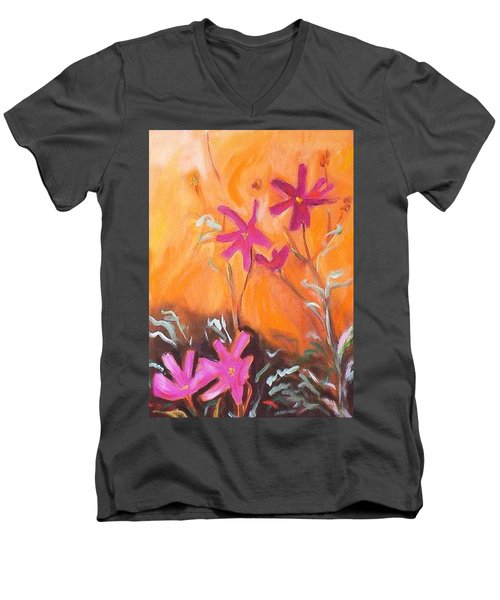 Men's V-Neck T-Shirt featuring the painting Alba Daisies by Winsome Gunning