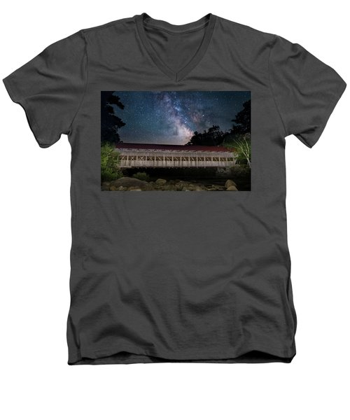 Albany Covered Bridge Under The Milky Way Men's V-Neck T-Shirt