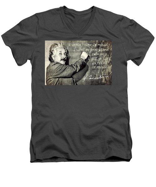Albert Einstein, Physicist Who Loved Music Men's V-Neck T-Shirt