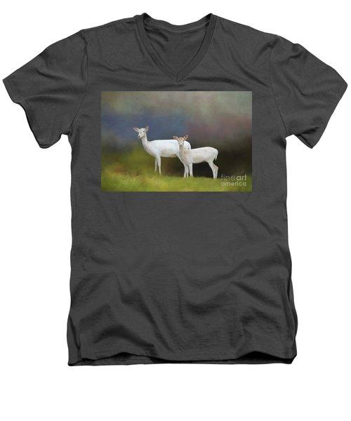 Albino Deer Men's V-Neck T-Shirt by Marion Johnson